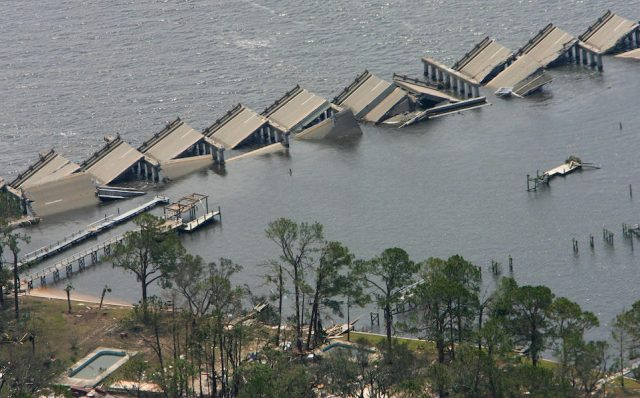 The Interstate-90 bridge over St. Louis Bay in Pass Christian, Mississippi, is folded and destroyed from the high wind and waves Hurricane Katrina