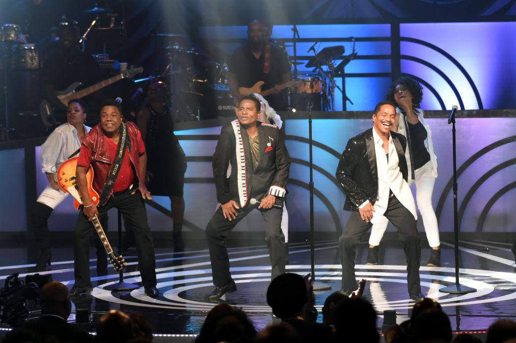 Tito Jackson, Jackie Jackson and Marlon Jackson of The Jacksons performing