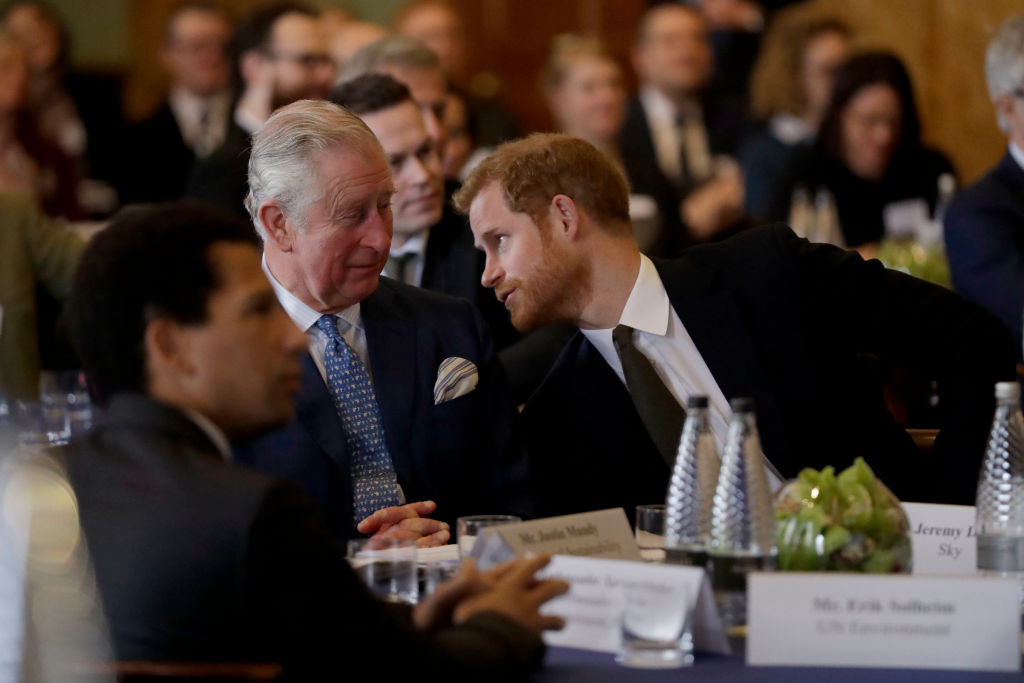 Prince Harry and Prince Charles, Prince of Wales attend the 'International Year of The Reef' 2018 meeting at Fishmongers Hall