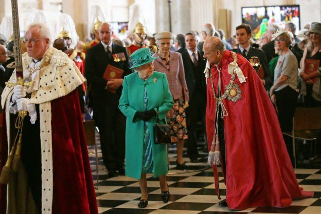Queen Elizabeth II and Prince Philip, Duke of Edinburgh attend a service at St Paul's Cathedral