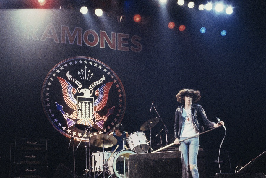 Joey Ramone (1951-2001), singer with US punk band the Ramones, performing