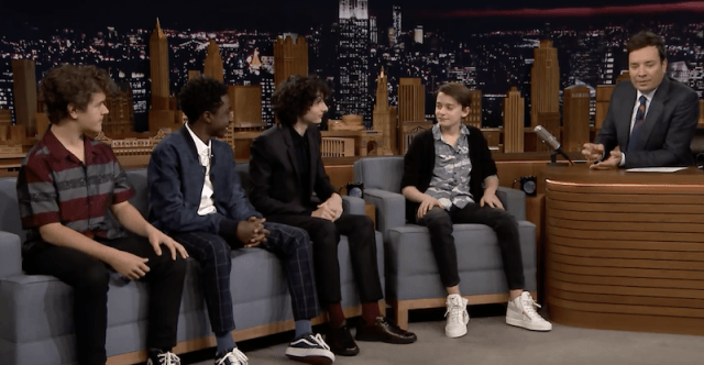 The 'Stranger Things' boys sitting with Jimmy Fallon.