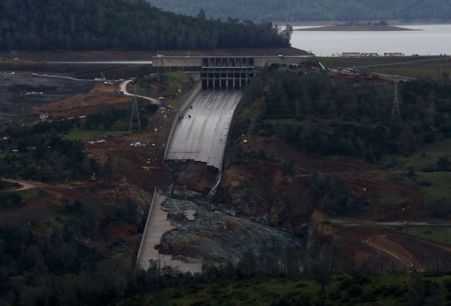 A view of of the heavily damaged spillway at Lake Oroville in Oroville, California