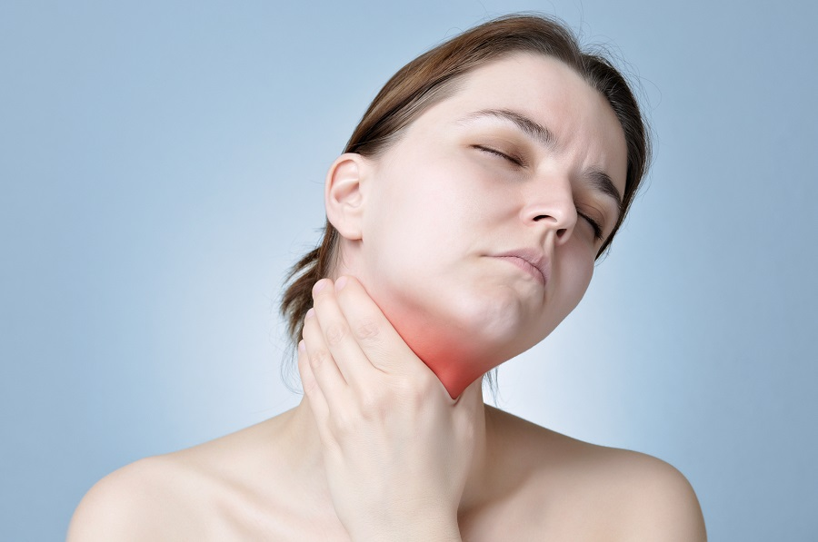 Woman with swollen lymph nodes