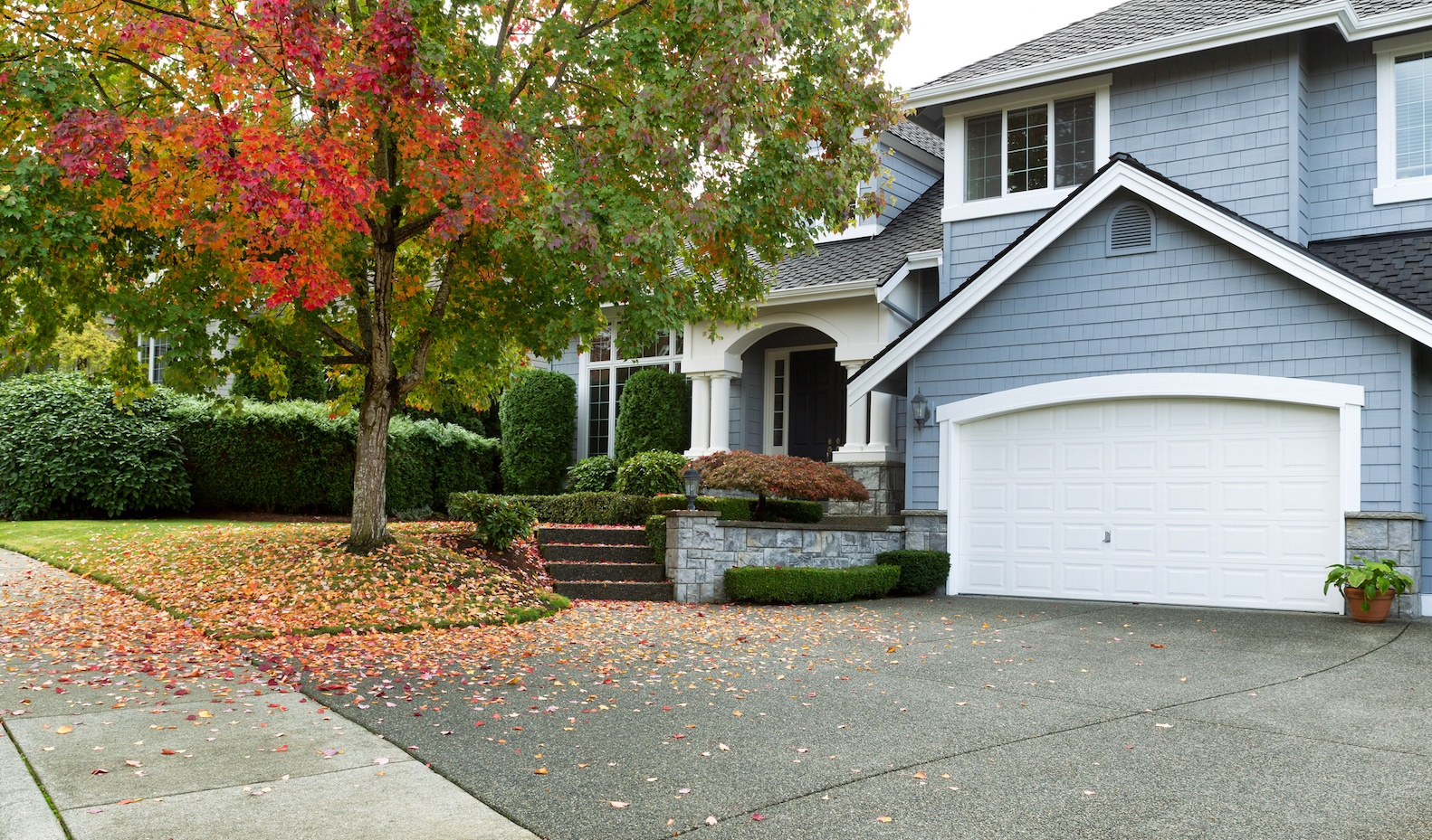 Front yard of house with autumn trees