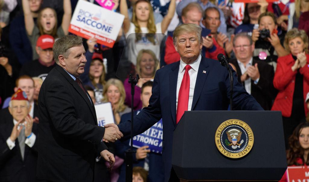 President Trump Holds Rally Touting Tax Cuts And Steel Tariffs Near Pittsburgh