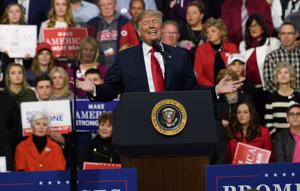 President Donald J. Trump speaks to supporters at the Atlantic Aviation Hanger