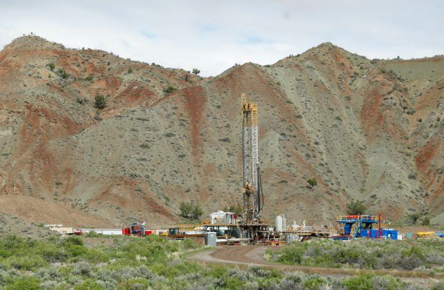 An oil drilling rig operates
