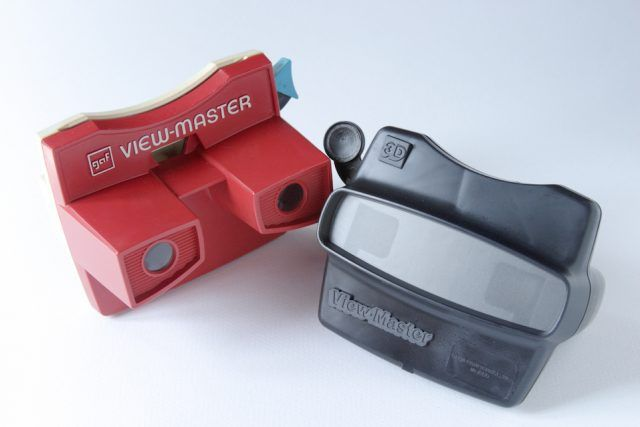 Close up, studio shots, of two different models of View-Masters