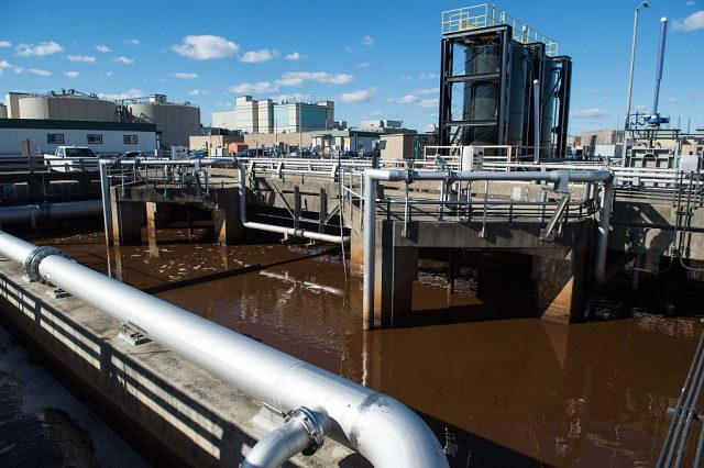 A huge tank full of wastewater is seen at DC Water's Blue Plains plant in Washington