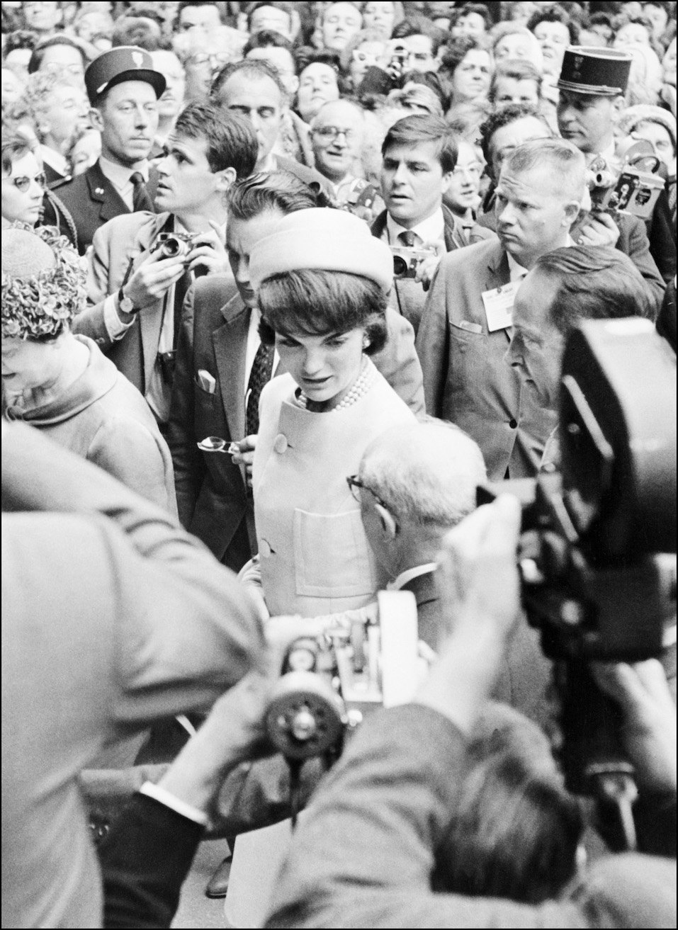 US First Lady, Jacqueline Kennedy is greeted by the crowd during her visit in Paris