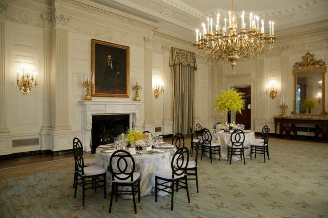 The State Dining Room of the White House in Washington, DC