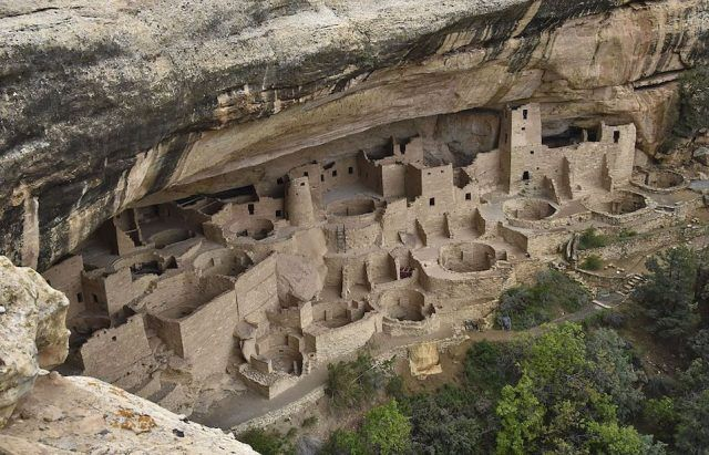 One of the cliff dwellings built by the Ancestral Puebloans at Mesa Verde National Park