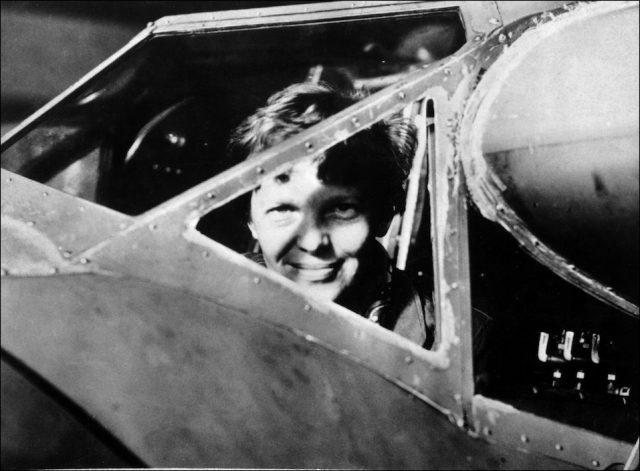 Undated picture taken in the 30' s of American female aviator Amelia Earhart looking trough the cockpit window of her plane