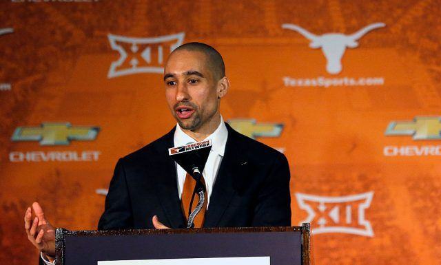 Shaka Smart addresses the media after being introduced as the new head coach of the Texas Longhorns men's basketball team