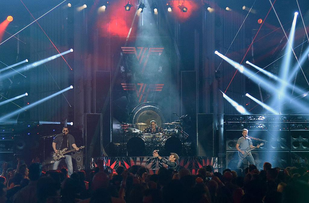 Bassist Wolfgang Van Halen, drummer Alex Van Halen, singer David Lee Roth and guitarist Eddie