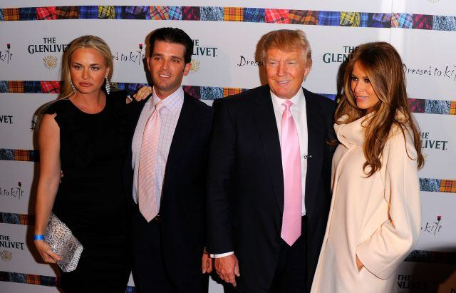 Vanessa Trump, Donald Trump Jr., Donald Trump and Melania Trump posing together.