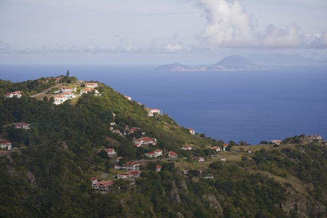 View on the highest part of Windward town on Saba