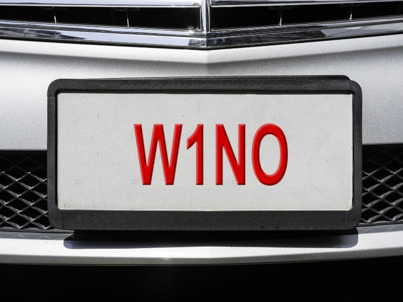 W1NO licence plate