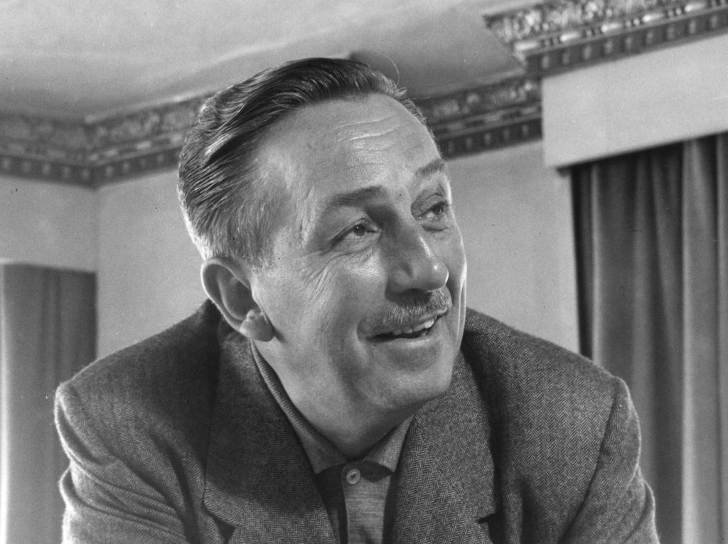 Black and white photo of Walt Disney