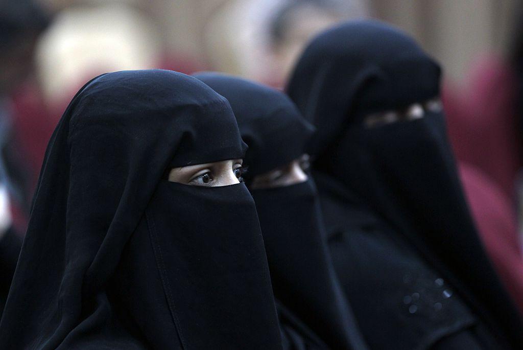 Women wearing Niqabs attend movie screening