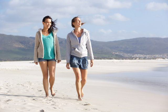 friends walking on beach together