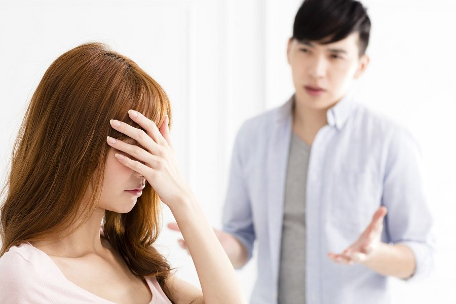 stressed couple having an argument