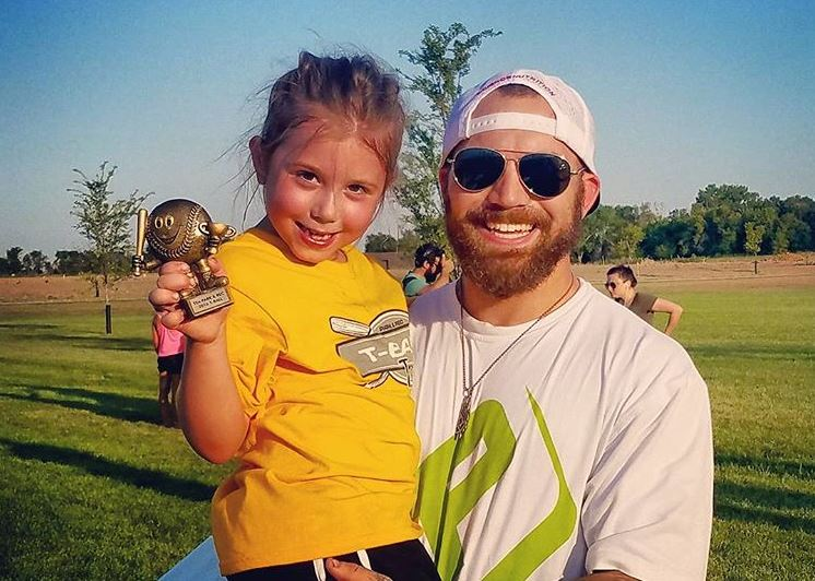 Adam Lind and his daughter with Chelsea, Aubrey