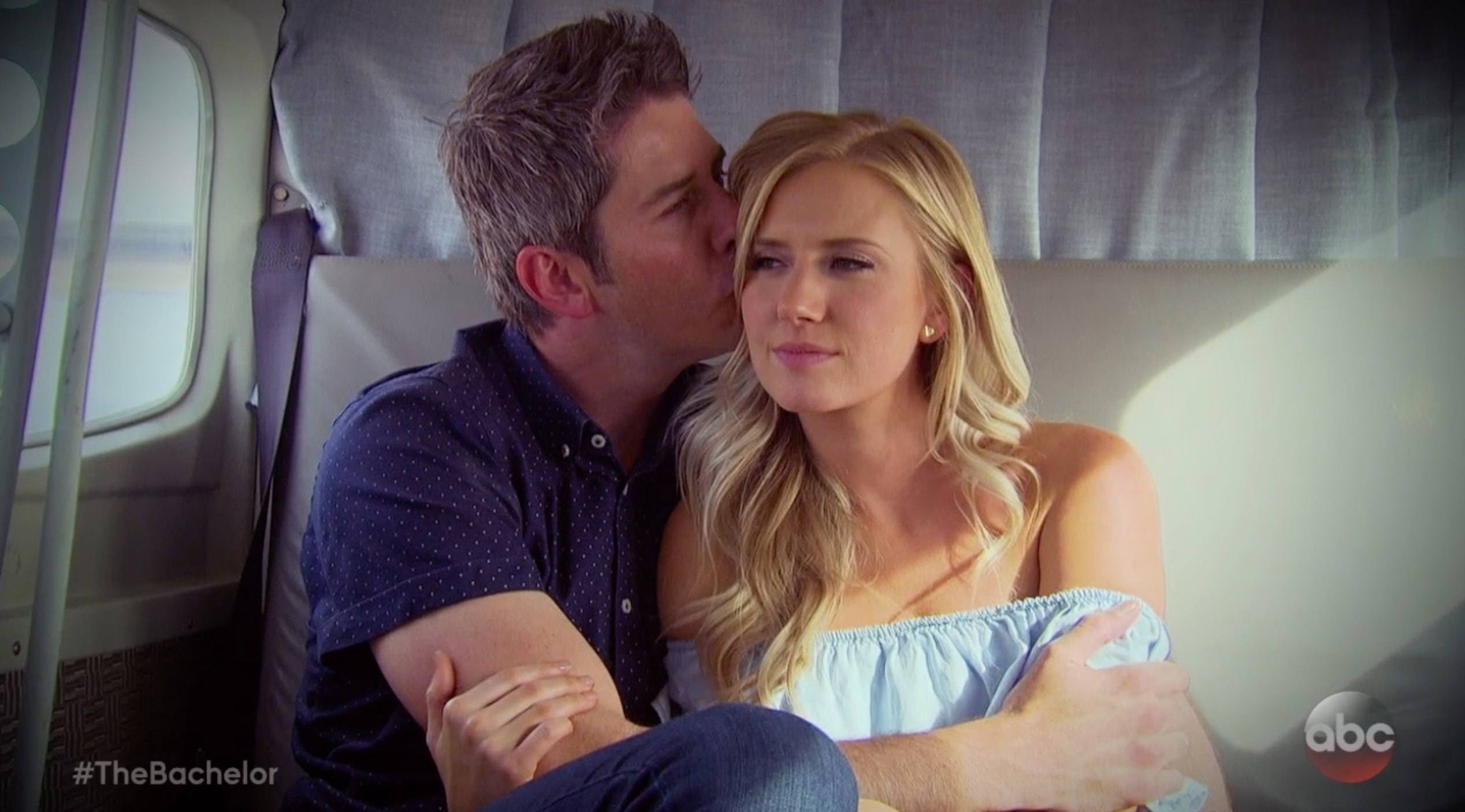 Arie and Lauren hug