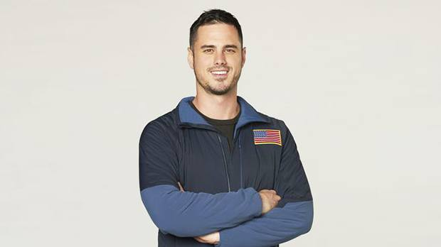Ben Higgins wears a jacket with the American flag on it