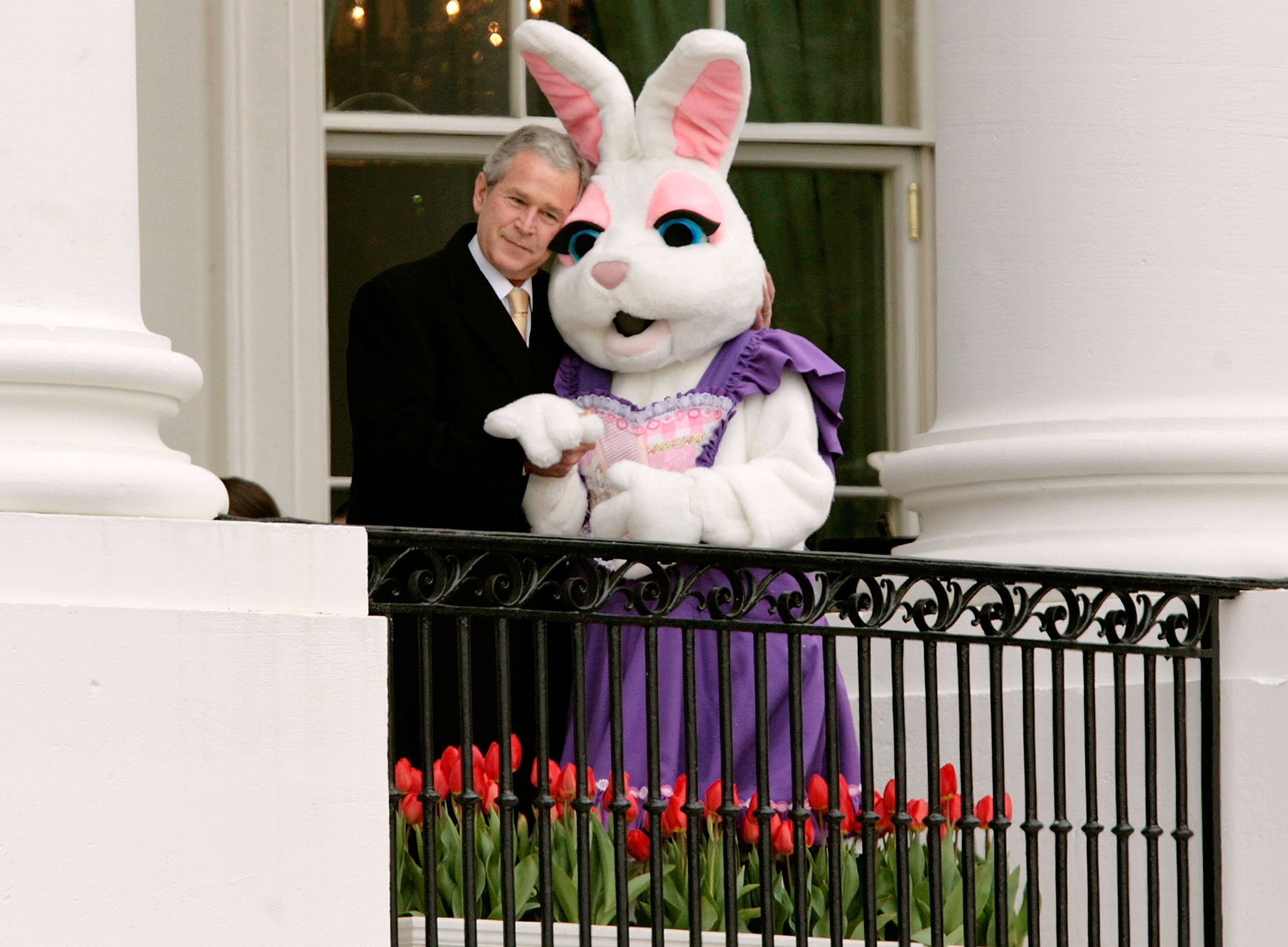 George W. Bush hugs the Easter Bunny