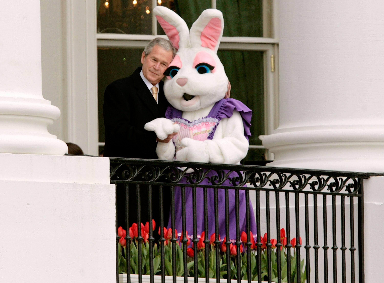 George W. Bush hugs the Easter Bunny