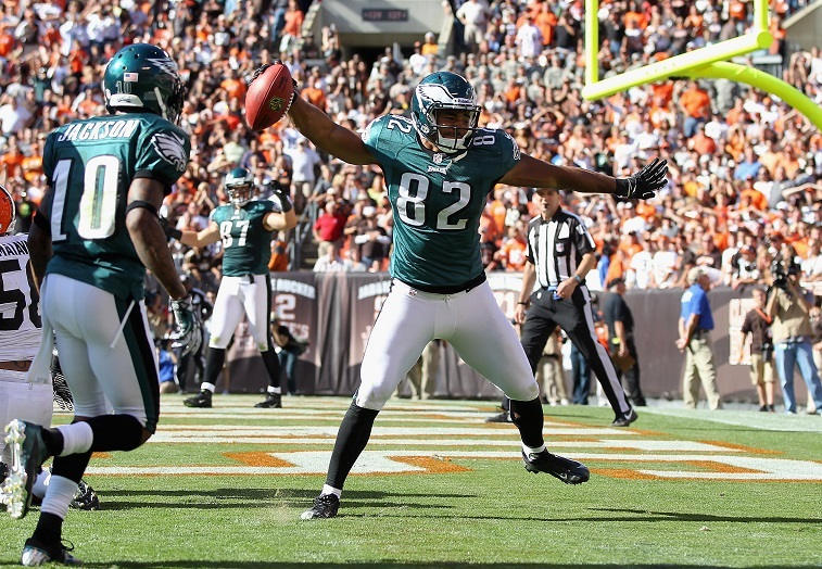 Tight end Clay Harbor #82 of the Philadelphia Eagles celebrates with wide receiver DeSean Jackson #10 after scoring a touchdown against the Cleveland Browns during the season opener at Cleveland Browns Stadium on September 9, 2012 in Cleveland, Ohio.