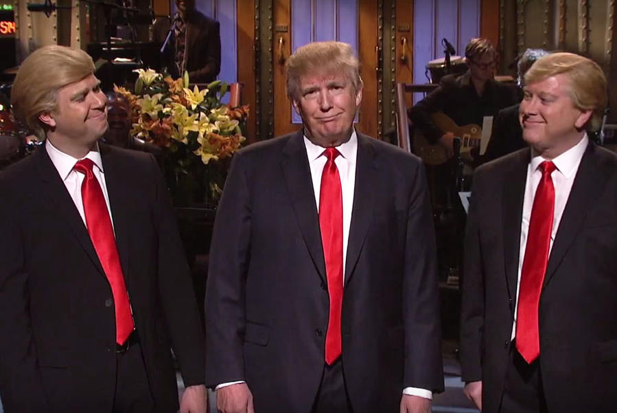 Taran Killam, Donald Trump, and Darrell Hammond on Saturday Night Live