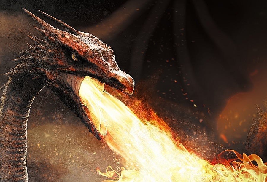 dragon spitting fire