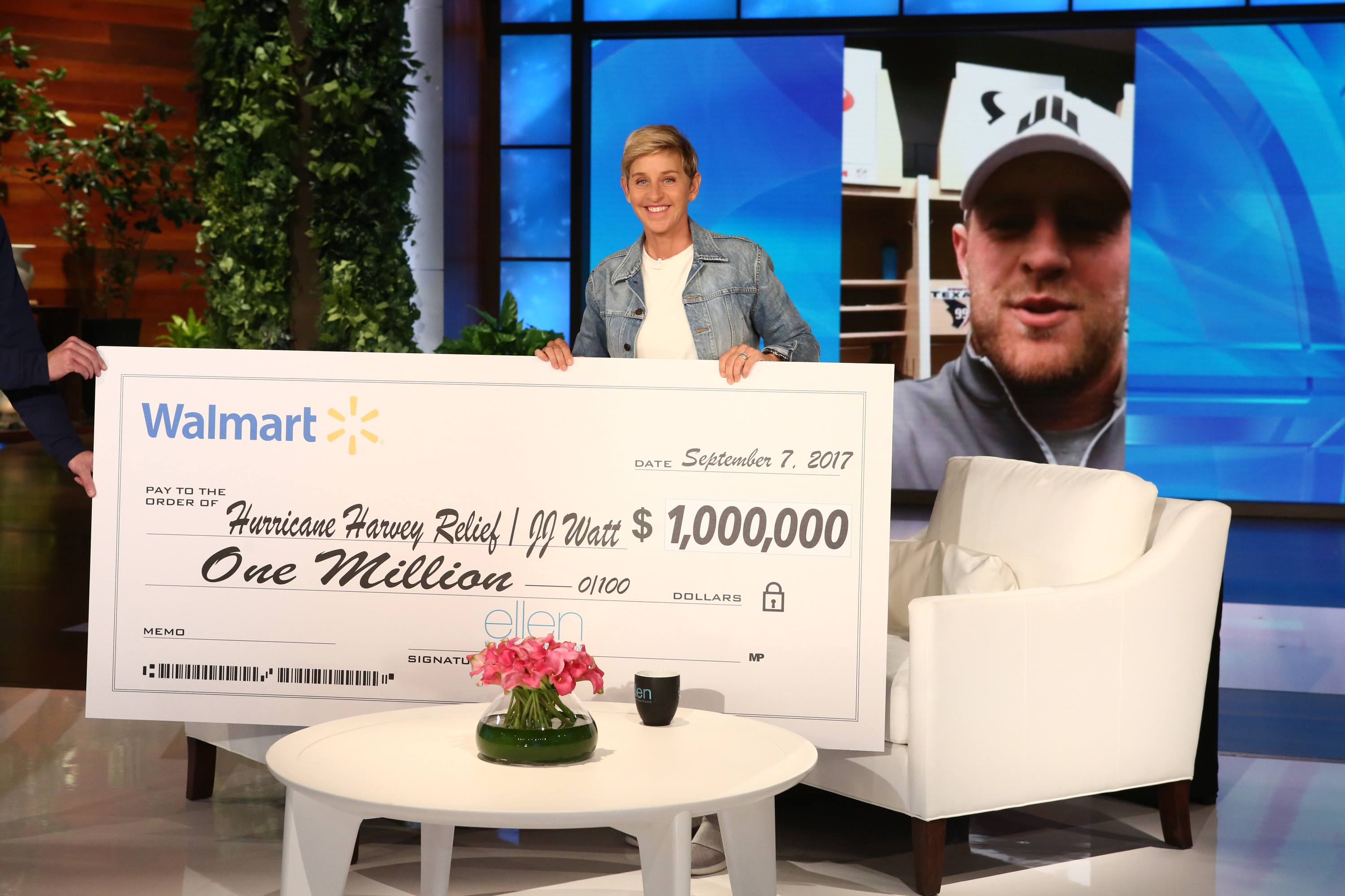 Ellen DeGeneres donating money to Hurricane Harvey relief