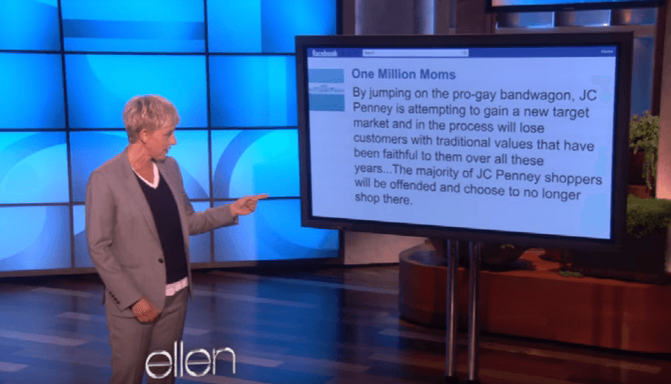 Ellen DeGeneres addresses the One Million Moms JCPenney statement