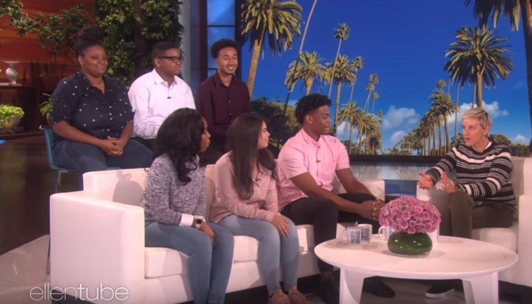 Ellen DeGeneres speaks with students
