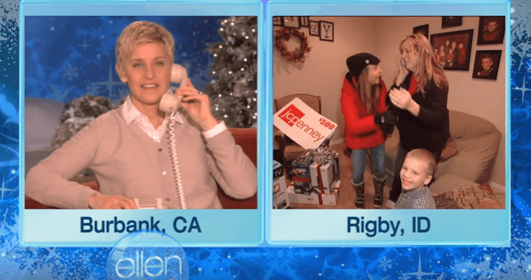 Ellen DeGeneres surprising a family with Christmas gifts