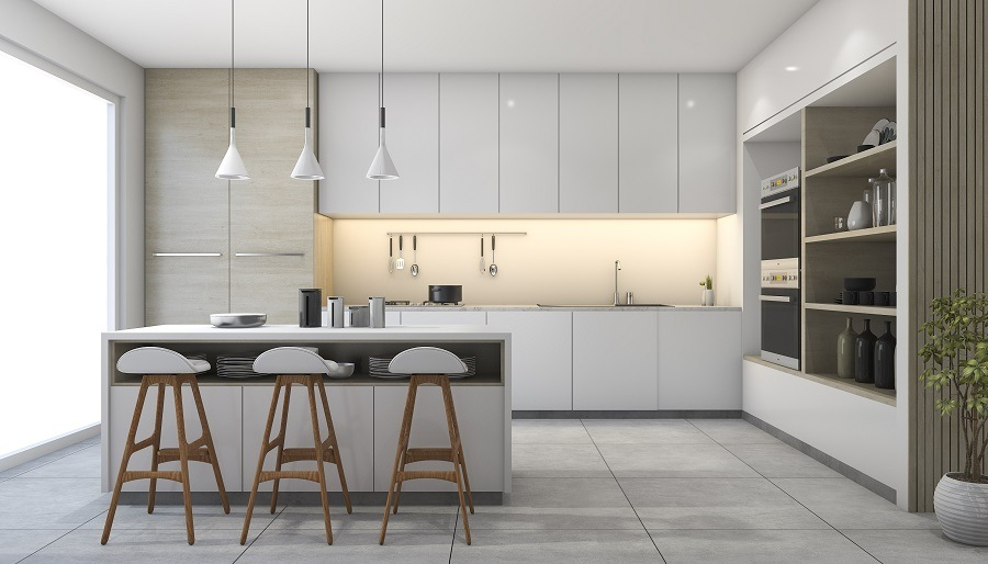 design kitchen with lamp