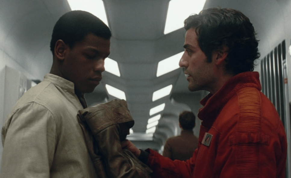 Finn and Poe in a deleted scene from The Last Jedi