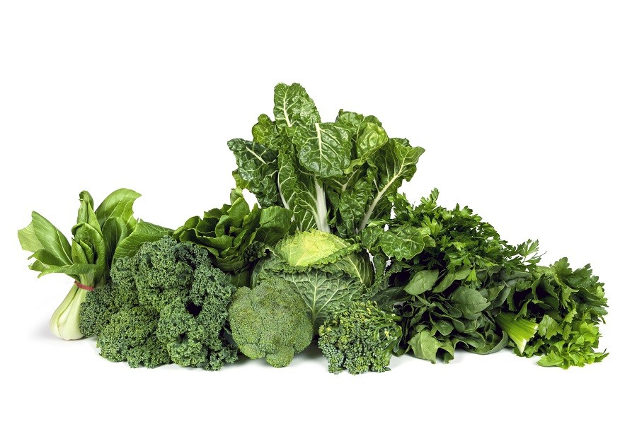 Variety of leafy green vegetables