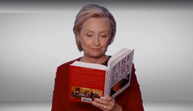 Hillary Clinton reading from Fire and Fury