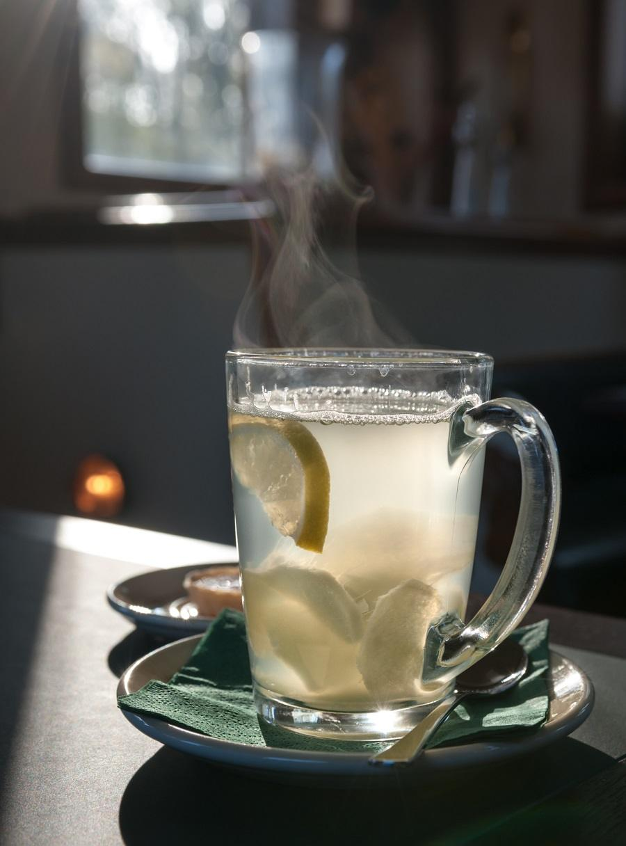 Winter hot lemon drink