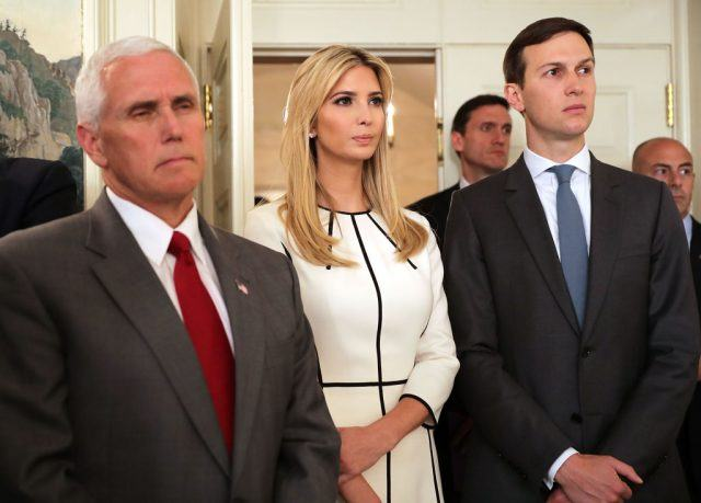 Vice President Mike Pence, Ivanka Trump and Senior Advisor to the President Jared Kushner