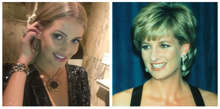 A composite image of Kitty Spencer and Princess Diana smiling