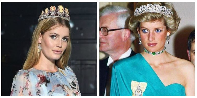 A composite image of Kitty Spencer and Princess Diana in tiaras