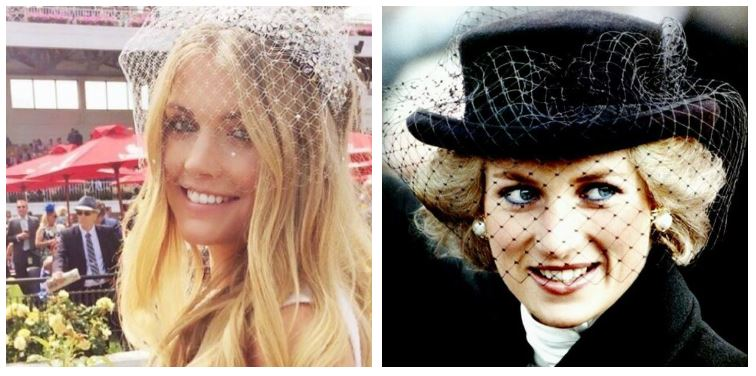 A composite image of Kitty Spencer and Princess Diana wearing veils