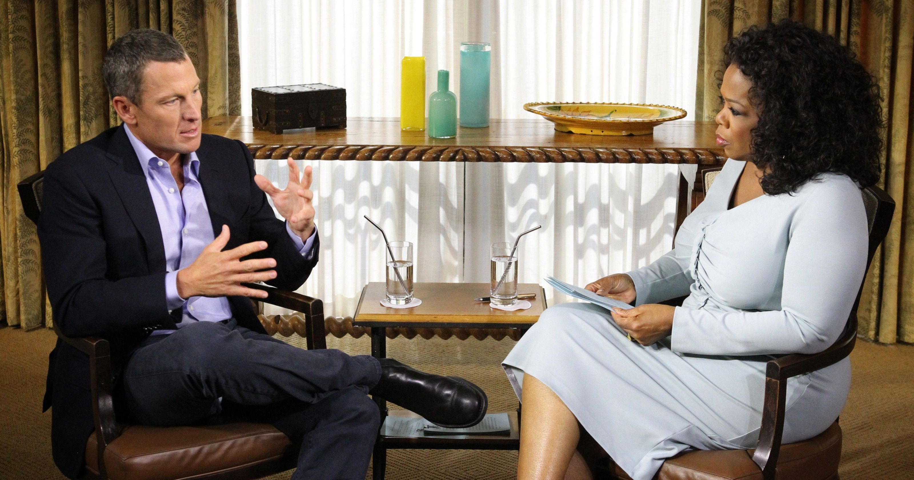 Oprah interviewing Lance Armstrong in 2013