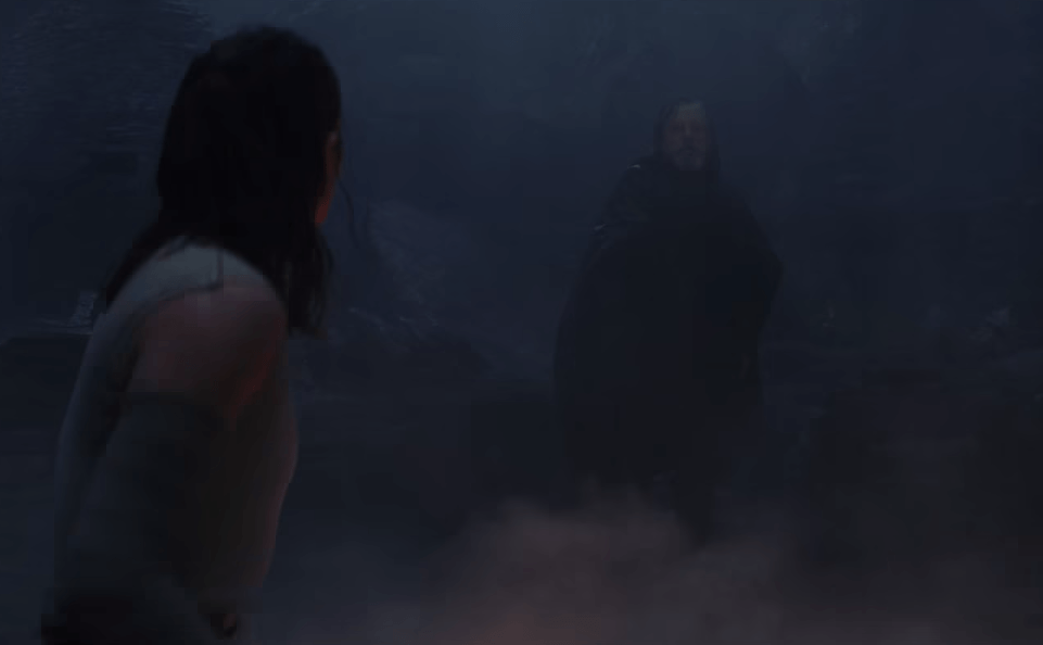 Luke finds Rey speaking with Kylo Ren